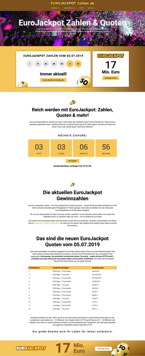 Webdesign für EuroJackpotZahlen.de