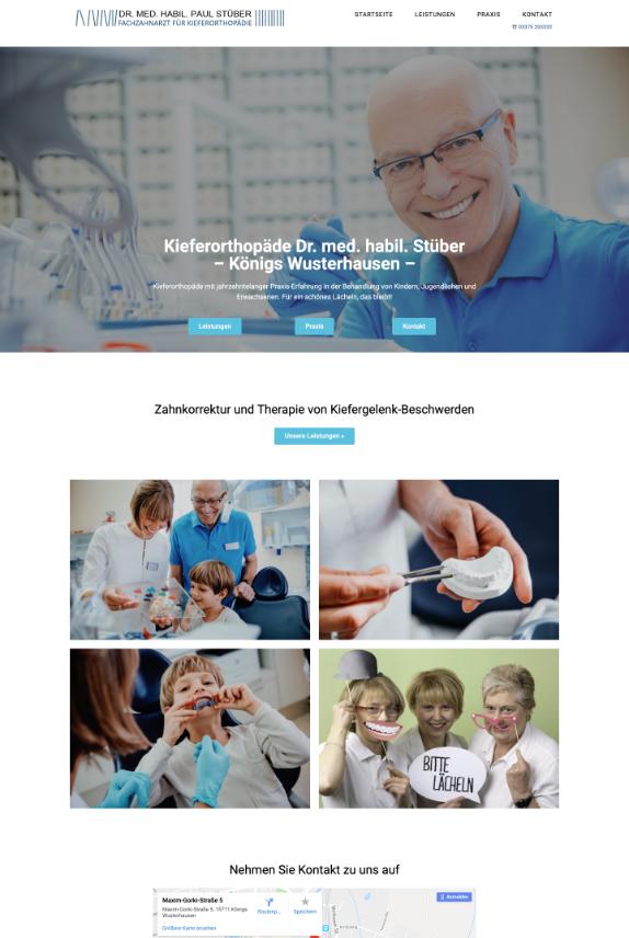 Webdesign für Kieferorthopäde Dr. Stüber