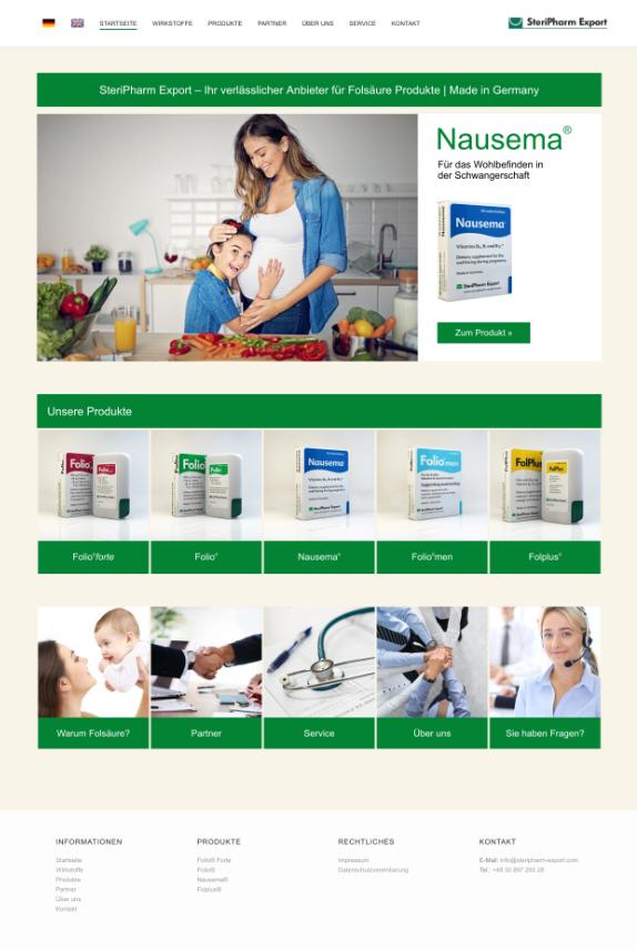 Webdesign für SteriPharm Export