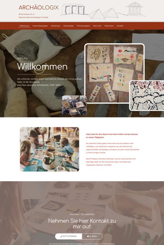Webdesign: Archäologie für Kinder