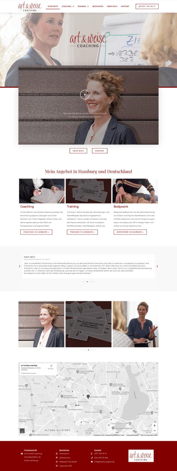 WordPress-Webdesign Referenz: Webseite von Art & Weise Coaching