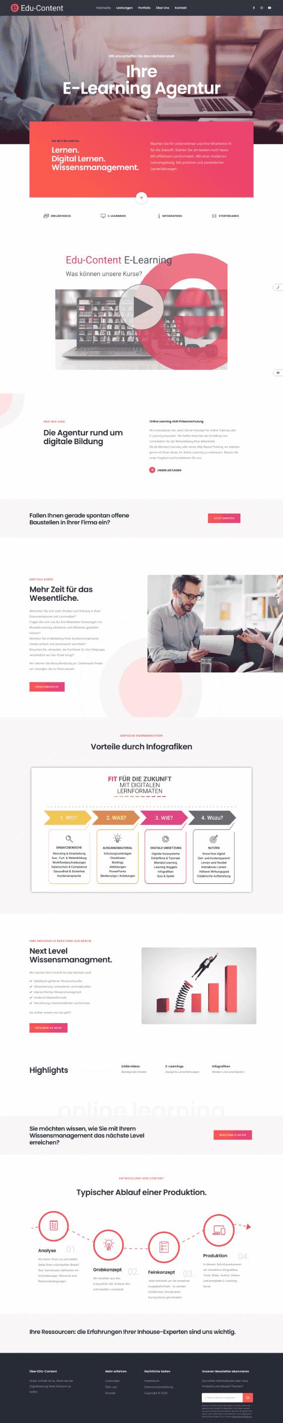 WordPress-Webdesign Referenz: Webseite von Edu-Content