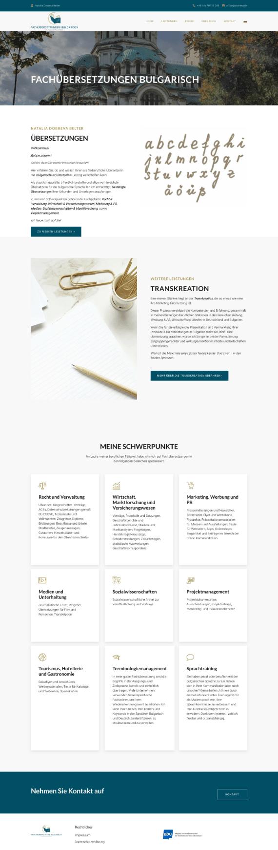 WordPress-Webdesign Referenz: Webseite von Fachübersetzungen Deutsch-Bulgarisch