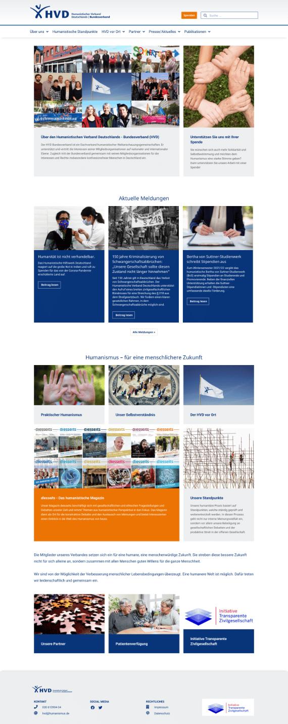 WordPress-Webdesign Referenz: Webseite vom Humanistischen Bundesverband (HVD)