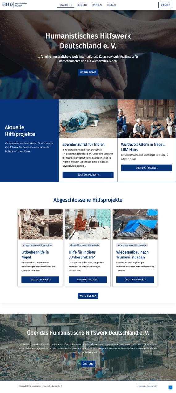 WordPress-Webdesign Referenz: Webseite vom Humanistischen Hilfswerk Deutschland e.V.