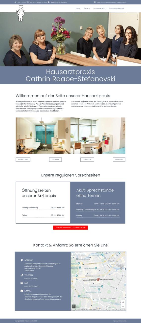 WordPress-Webdesign Referenz: Webseite der Hausarztpraxis Raabe-Stefanowski
