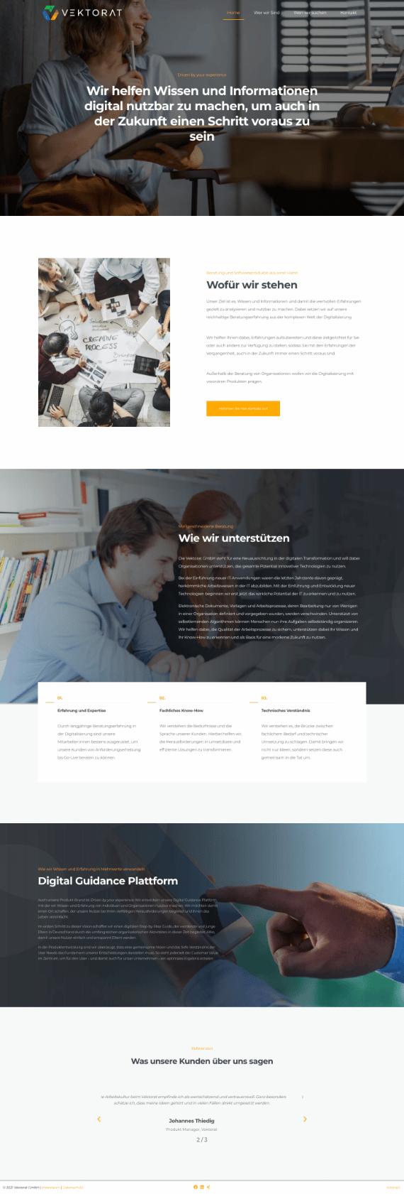 WordPress-Webdesign Referenz: Webseite von Vektorat