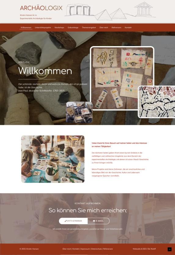 WordPress-Webdesign Referenz: Webseite von Archäologix