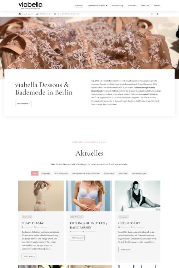 WordPress-Webdesign Referenz: Webseite des viabella-Dessousshop